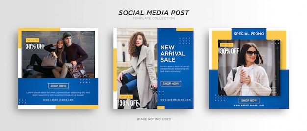 Modelos de postagem em mídia social azul com amarelo minimalista