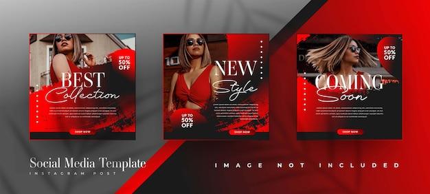 Modelos de postagem em mídia social de venda de moda em preto e vermelho