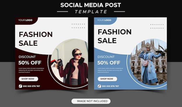 Modelos de postagem em mídia social de venda de moda