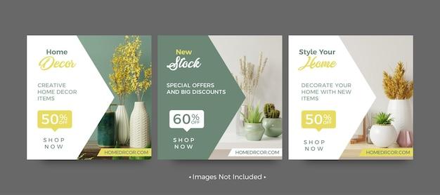 Modelos de postagem em mídia social para venda de decoração para casa