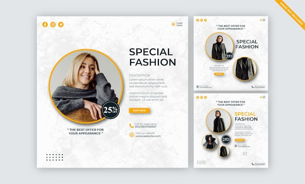 Modelos de postagem em mídias sociais para negócios de moda minimalistas