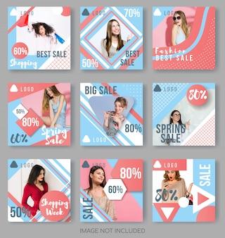Modelos de postagem no instagram em azul e paleta de coral