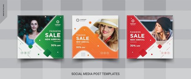 Modelos de postagem quadrada de mídia social de venda de moda