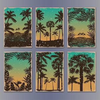 Modelos de pôsteres vintage tropicais com palmas das mãos coleção de maquetes retrô para cartões comemorativos Vetor Premium