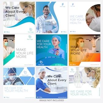 Modelos de posts de mídia social médica