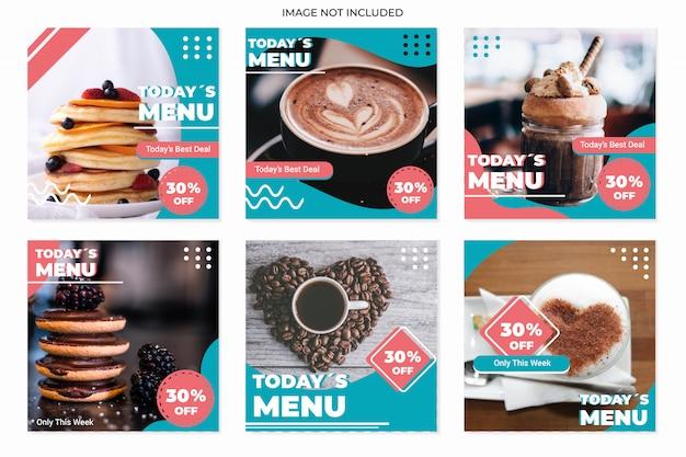 Modelos de publicação de mídia social culinária