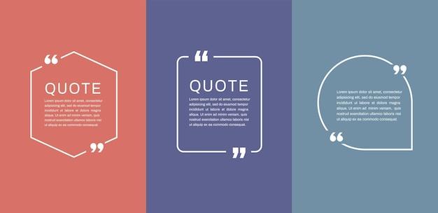 Modelos de quadros de citação conjunto de bolhas de texto de citação