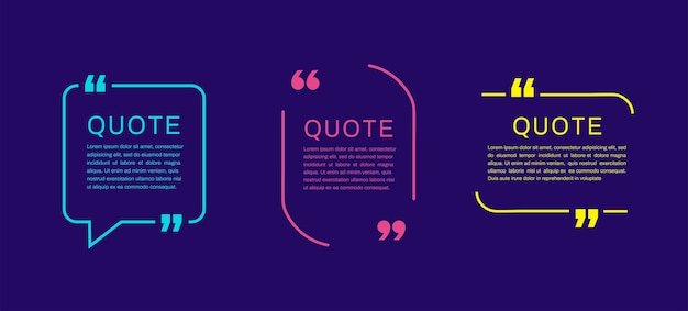 Modelos de quadros de citação. texto de citação do modelo em branco.