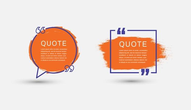 Modelos de quadros de citações caixa de texto de balões de fala