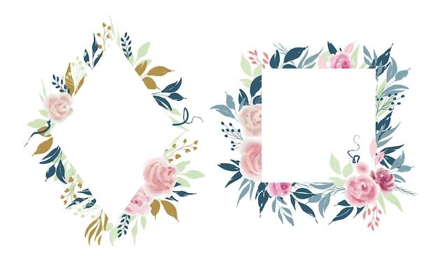 Modelos de quadros florais quadrados e diamantes com flores rosas e folhas