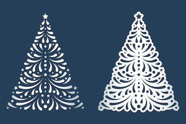 Modelos de recorte de árvore de natal cortados a laser com padrão de redemoinhos.