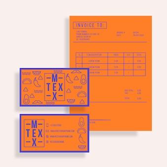 Modelos de restaurante para cartão de visita e fatura