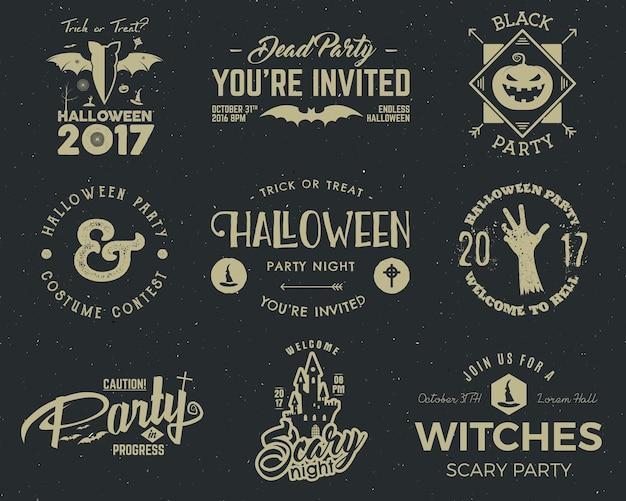 Modelos de rótulo de festa de halloween 2017 com símbolos assustadores - mão zumbi, chapéu de bruxa, morcego, abóbora e elementos de tipografia. use para cartazes de festa, folhetos, convites. na camiseta, camiseta e outra identidade.