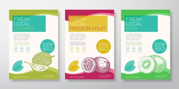 Modelos de rótulos de frutas exóticas frescas definir vetor embalagem design layouts coleção tipografia banner ...