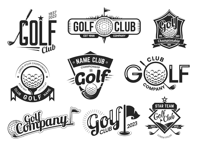 Modelos de rótulos de tacos de golfe, emblemas de times e campeonatos