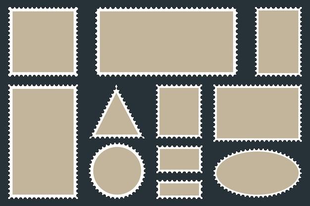 Modelos de selos postais em branco para suas imagens e texto. selos sobre um fundo escuro.