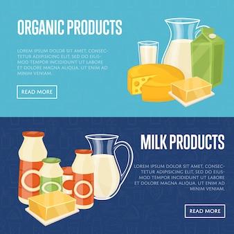 Modelos de site de produtos orgânicos de leite