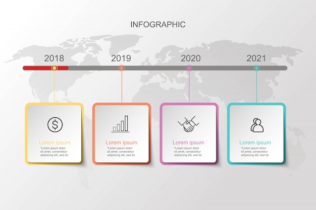 Modelos de slide infográfico para apresentação do negócio.
