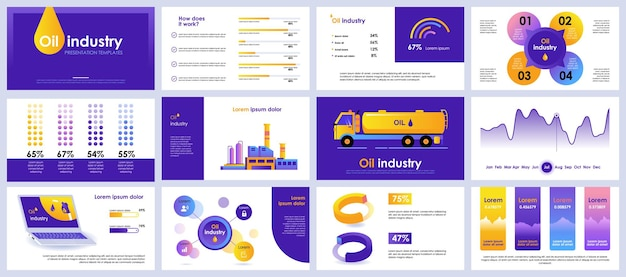 Modelos de slides de apresentação da indústria de petróleo com elementos de infográfico