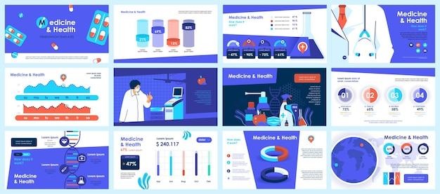Modelos de slides de apresentação de coronavirus a partir de elementos de infográfico
