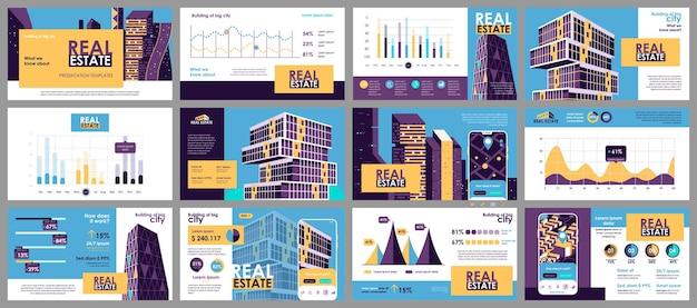 Modelos de slides de apresentação de imóveis de elementos de infográfico
