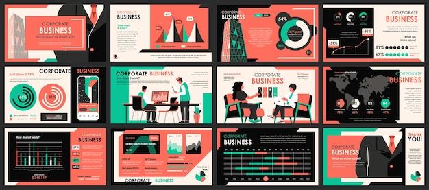 Modelos de slides de apresentação de reuniões de negócios com elementos de infográfico