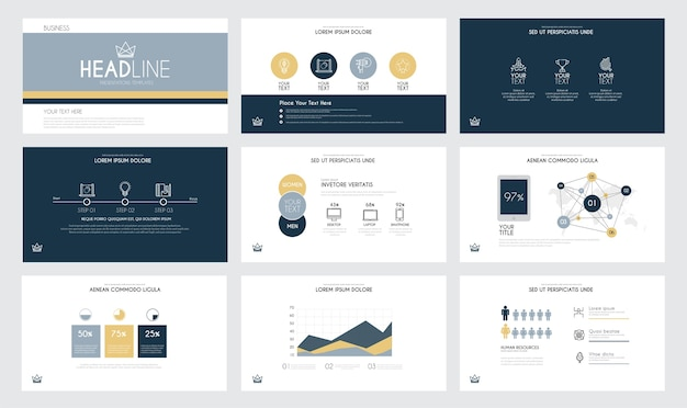 Modelos de slides de apresentação e brochuras de negócios.