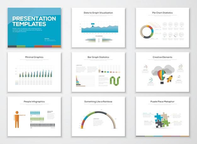 Modelos de slides de apresentação e brochuras de vetores de negócios