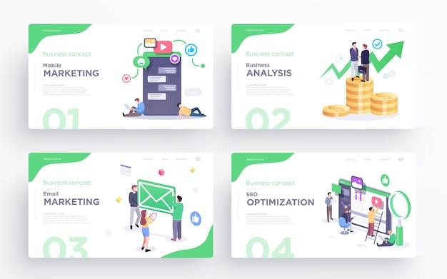 Modelos de slides de apresentação ou imagens de banner de herói para sites ou aplicativos conceito de negócio