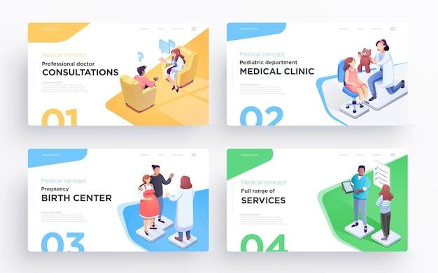 Modelos de slides de apresentação ou imagens de banner hero para sites ou aplicativos ilustrações médicas