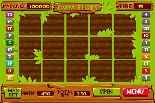 Modelos de slots de fazenda, interface de usuário de jogos de azar para jogar. menu de ilustração para o jogo, canteiros de jardim.