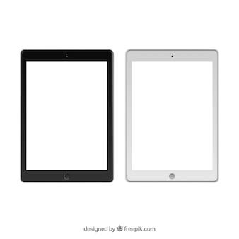 Modelos de tablet em preto e branco