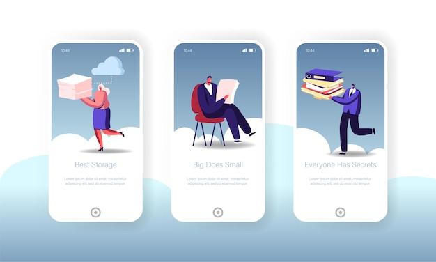 Modelos de tela da página do aplicativo móvel do cloud computing storage.