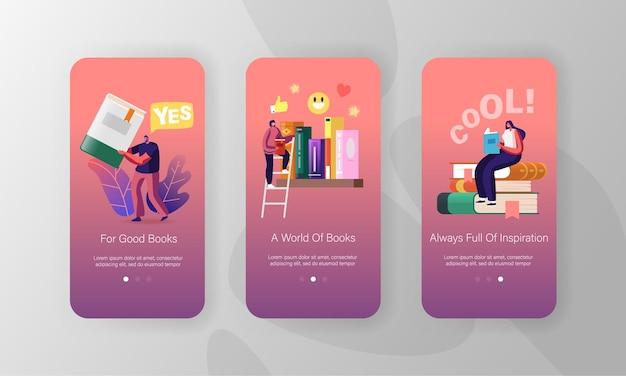 Modelos de tela de página de aplicativo para dispositivos móveis de leitura e educação