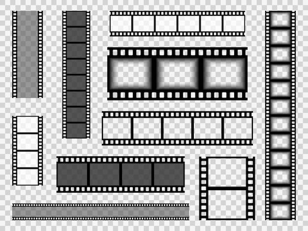 Modelos de tira de filme. fita de borda monocromática de cinema, mídia vazia imagem foto vídeo quadro vintage carretel de filme vector conjunto