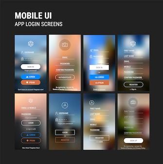 Modelos de ui móveis responsivos modernos de modelo de aplicativo móvel de login e registro com fundos desfocados da moda