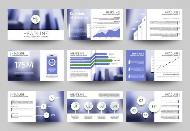 Modelos de vetor de apresentação de negócios multiuso com elementos de foto desfocada.