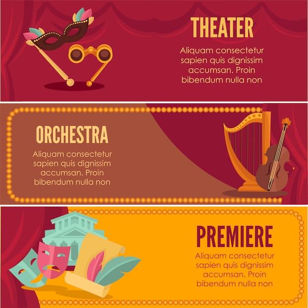 Modelos de vetor de banners de estréia de teatro ou orquestra.