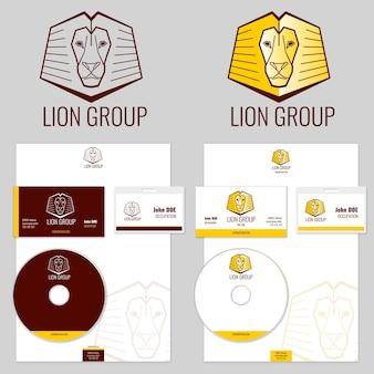 Modelos de vetor de logotipo do leão definidos para o seu negócio. logotipo da marca, cabeça do logotipo do animal, ilustração do leão da marca do emblema