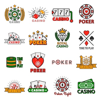 Modelos de vetor de pôquer de cassino de fichas e cartões de jogo