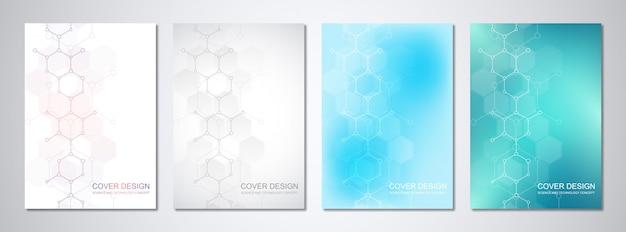 Modelos de vetor para capa ou brochura, com estruturas moleculares e engenharia química.