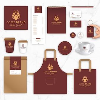Modelos de vetores de identidade de marca para marca de café e cafeteria