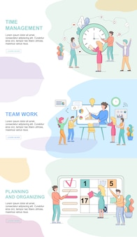 Modelos de web do estilo de vida do escritório horizontal definido. gerenciamento de tempo