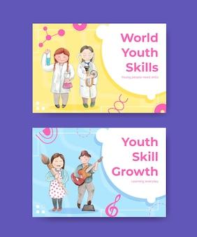 Modelos do facebook definidos com o conceito do dia mundial de competências da juventude, estilo aquarela