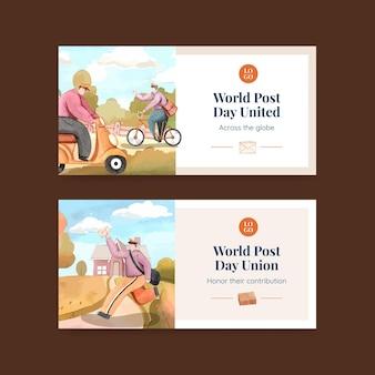 Modelos do twitter para o dia mundial da postagem em estilo aquarela