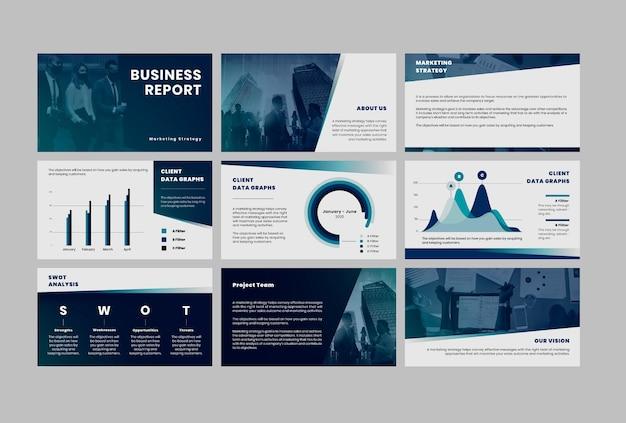 Modelos editáveis de apresentação de estratégia de negócios