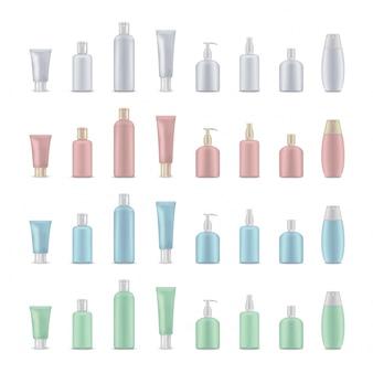 Modelos em branco de frasco de creme, tubo. maquete realista de pacote cosmético.