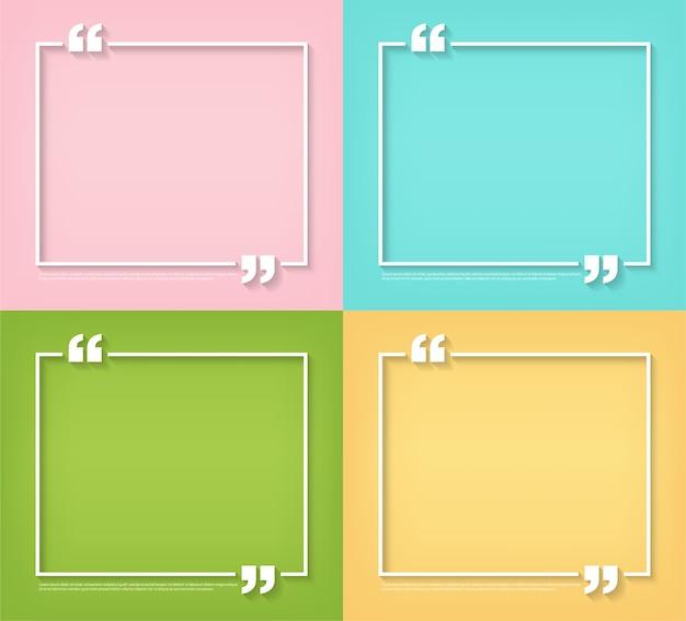 Modelos em branco de símbolo de bolha de citação de texto