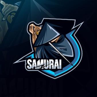 Modelos esportivos de logotipo de mascote de samurai