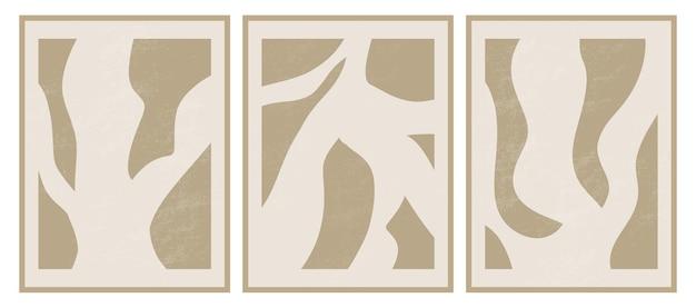 Modelos estéticos contemporâneos com formas abstratas orgânicas e linhas em cores nude fundo boho pastel em estilo minimalista de meados do século.